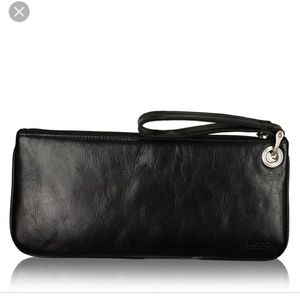 HOBO Intl ZOE Black Leather Wristlet Clutch